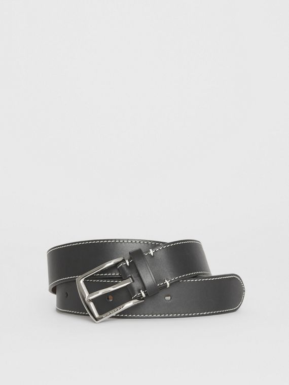 Topstitched Leather Belt in Black
