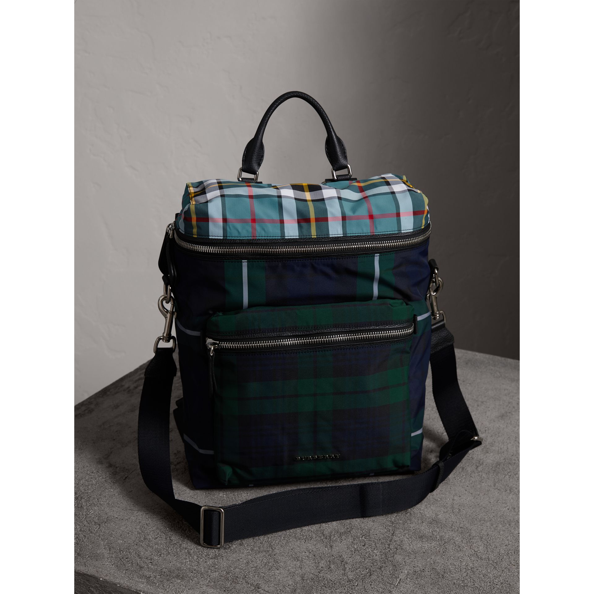 Zip-top Leather Trim Tartan Backpack in Forest Green - Men | Burberry - gallery image 6