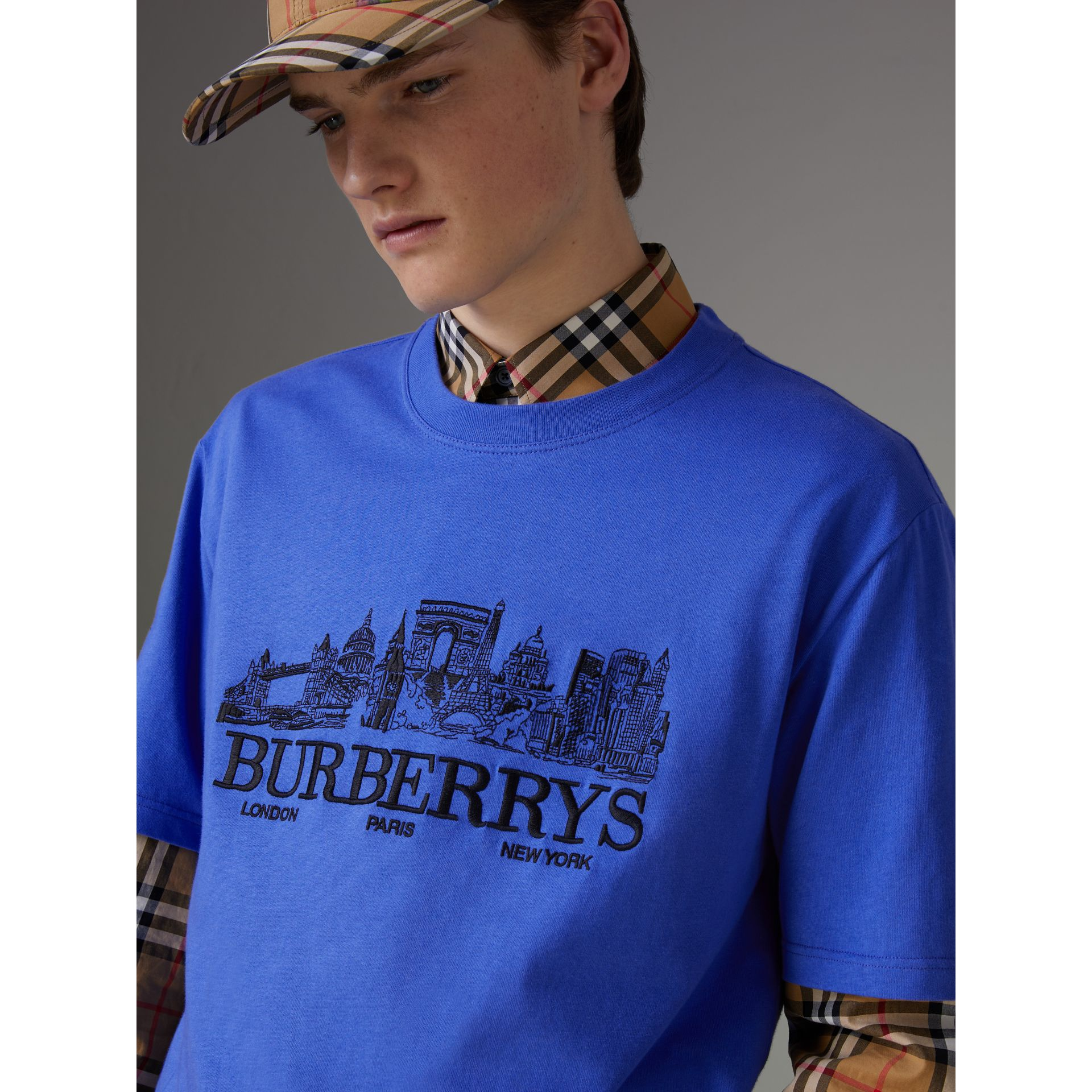 T-shirt en coton revisité (Bleu Barbeau) - Homme | Burberry Canada - photo de la galerie 1