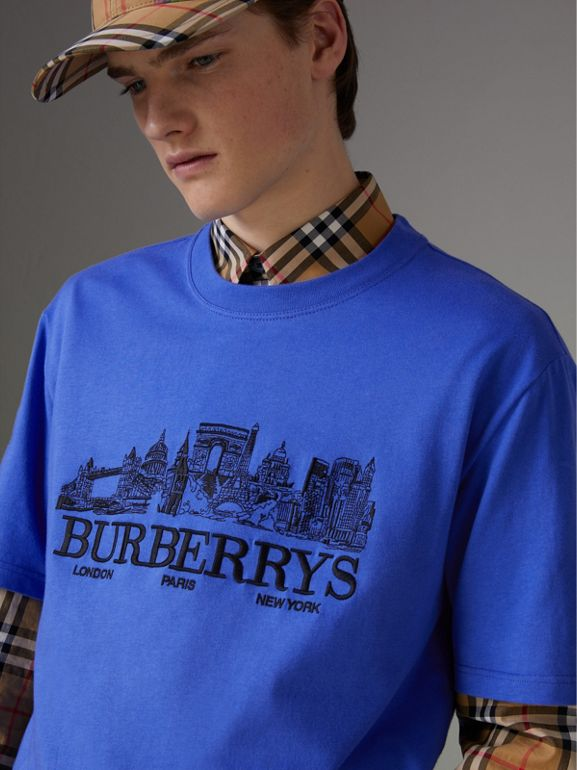 Reissued Cotton T-shirt in Cornflower Blue - Men | Burberry - cell image 1
