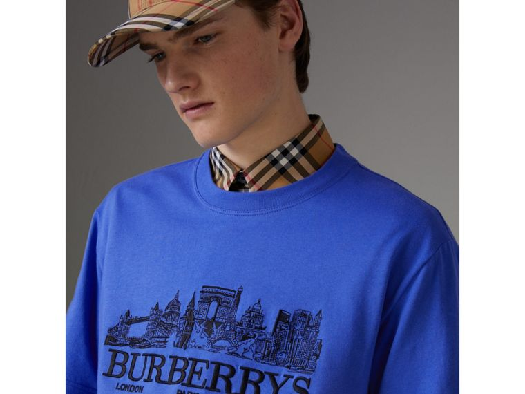 再版系列棉質 T 恤 (矢車菊藍) - 男款 | Burberry - cell image 1