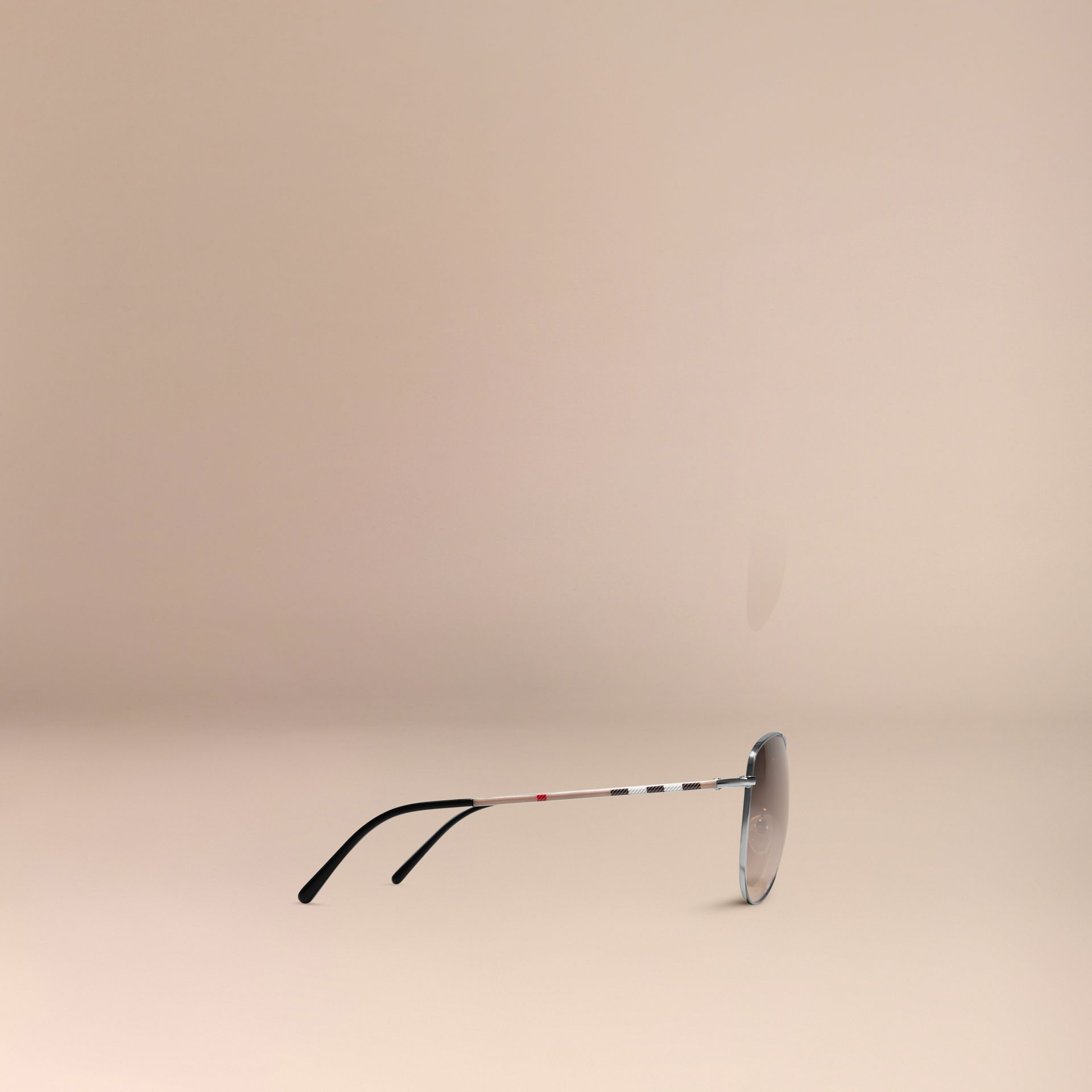 Nickel Check Arm Aviator Sunglasses Nickel - gallery image 5