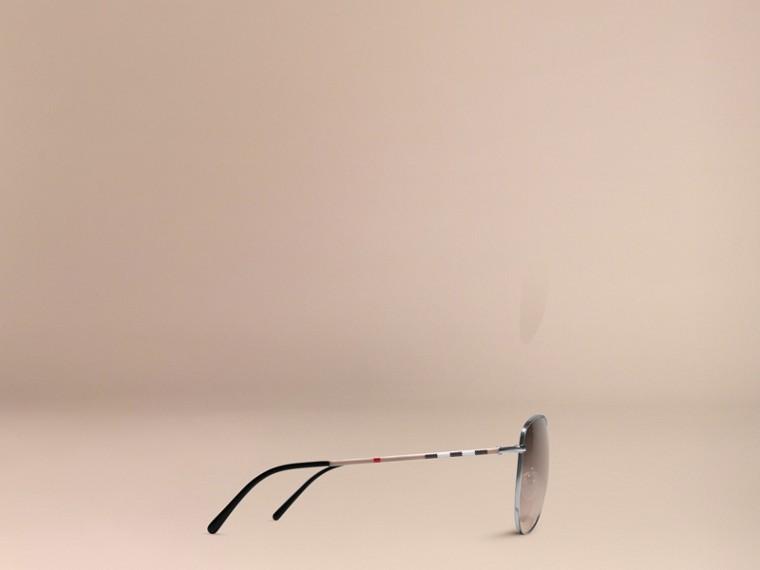 Nickel Check Arm Aviator Sunglasses Nickel - cell image 4