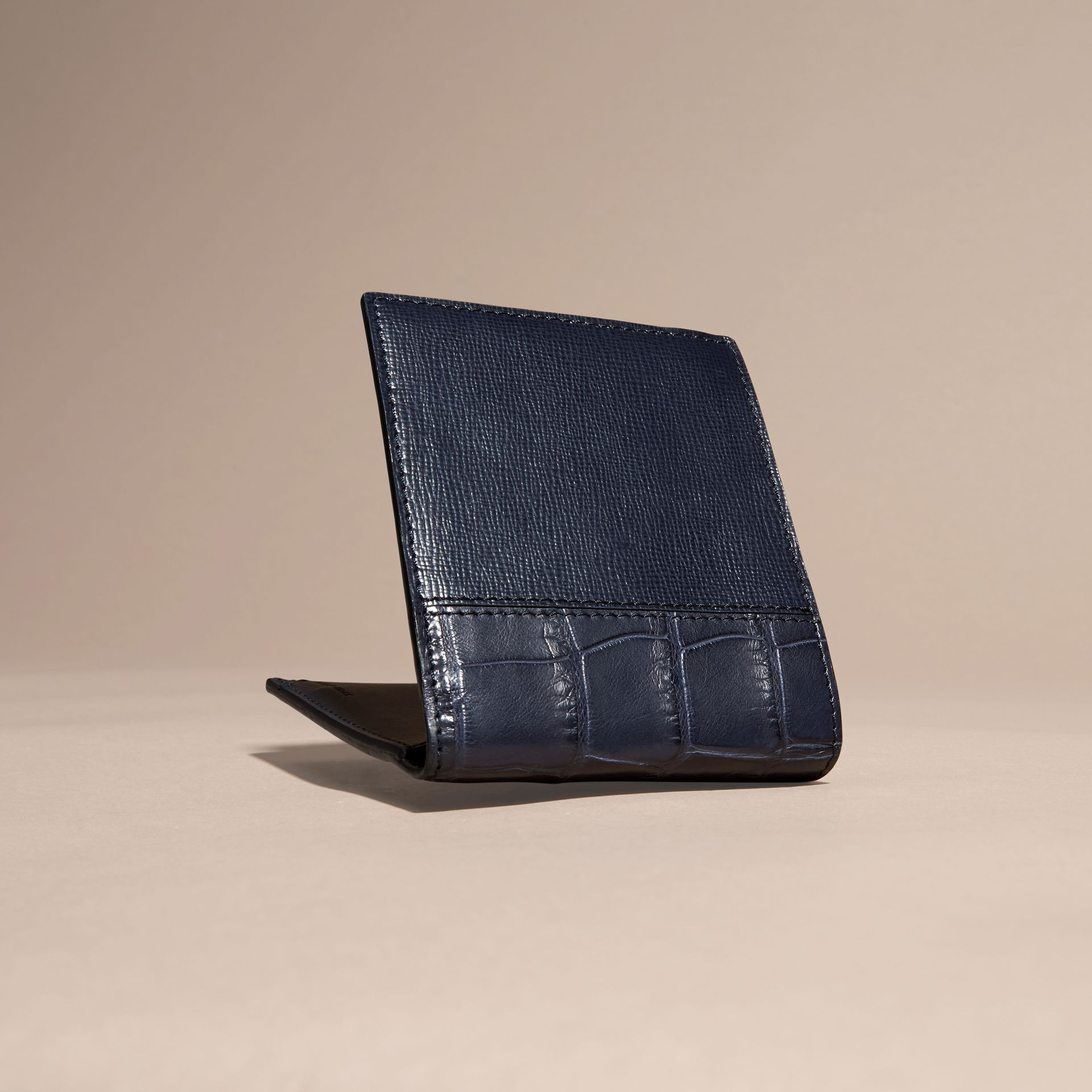 Leather and Alligator International Bifold Wallet in Dark Navy - gallery image 4