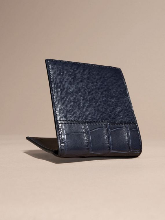 Dark navy London Leather and Alligator Folding Wallet Dark Navy - cell image 3