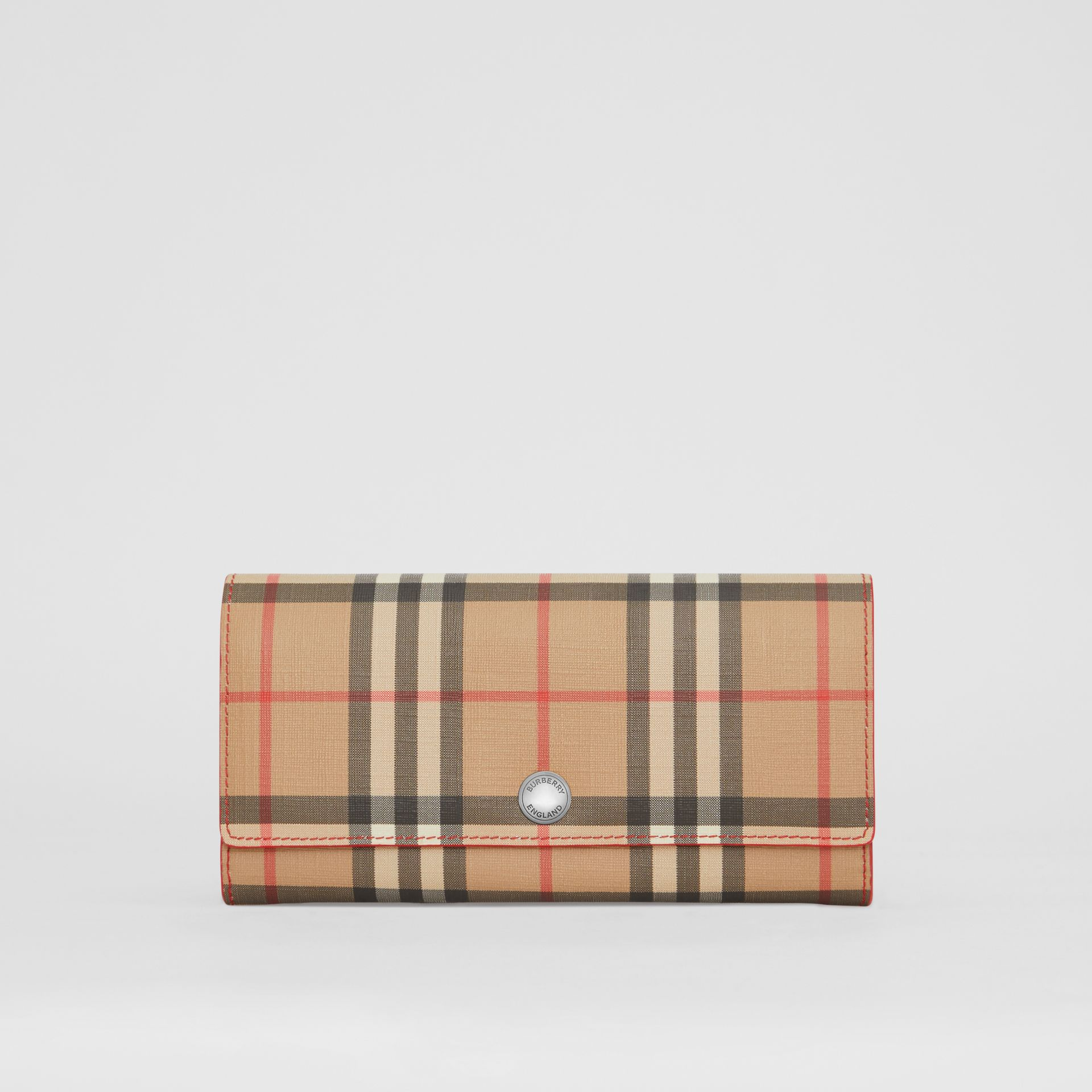 Vintage Check and Leather Continental Wallet in Bright Military Red - Women | Burberry United States - gallery image 0