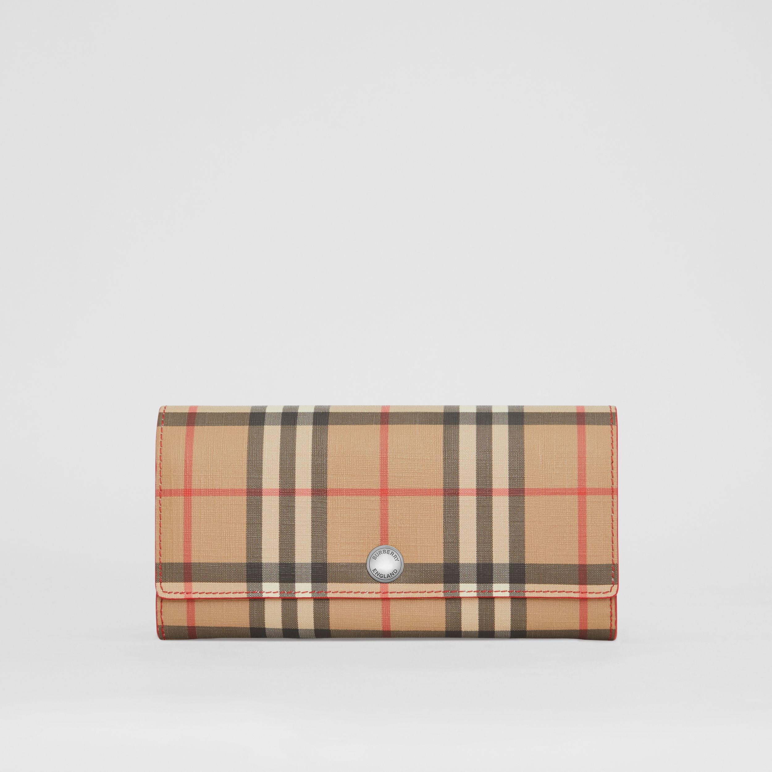 Vintage Check and Leather Continental Wallet in Bright Military Red - Women | Burberry - 1
