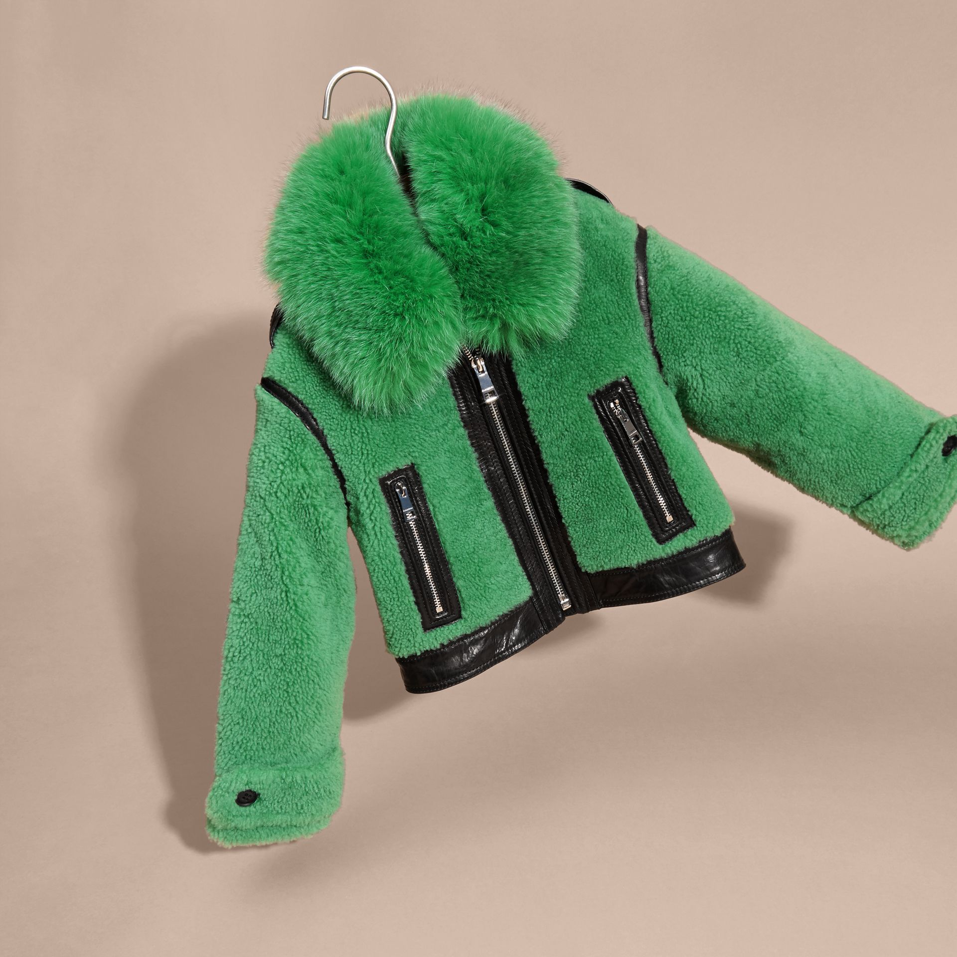 Pigment green Fox-collar Shearling Jacket - gallery image 3