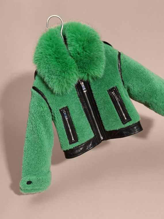 Verde pigmento Giacca in shearling con collo in volpe - cell image 2