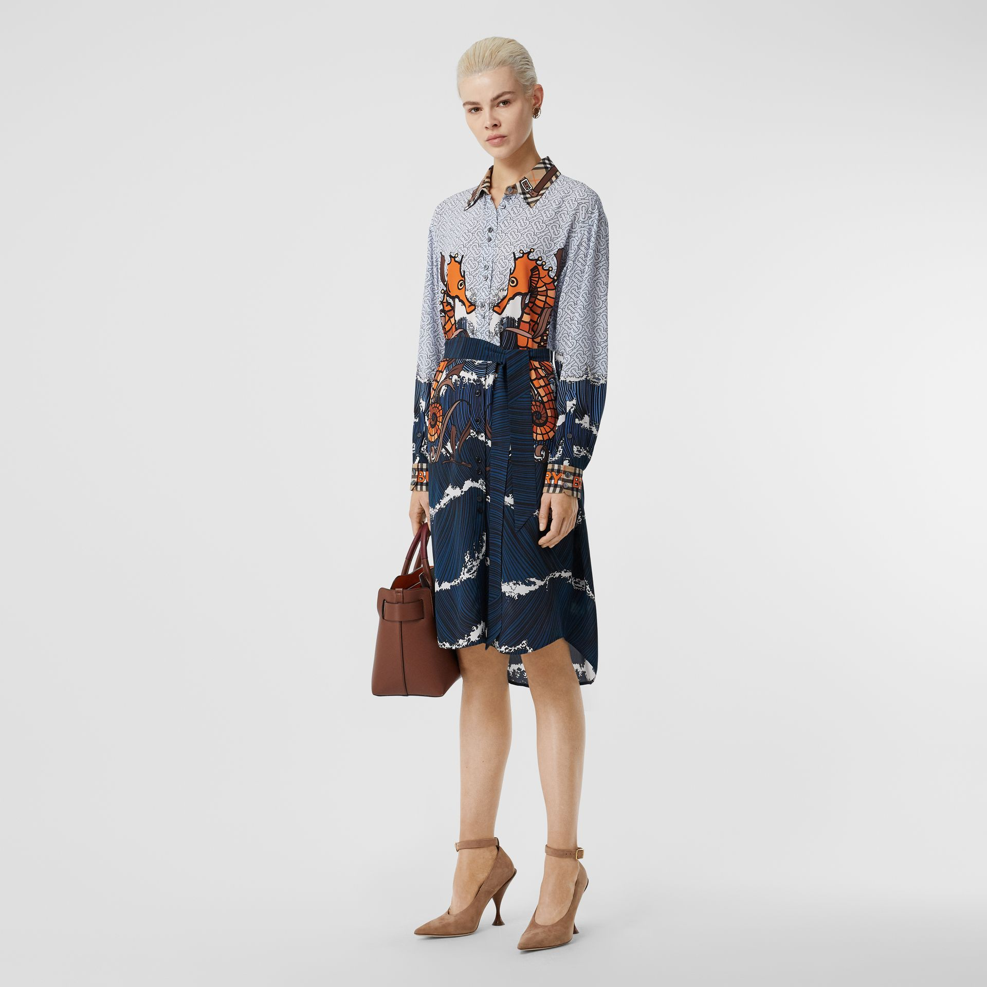 Seahorse and Monogram Print Silk Shirt Dress in Baby Blue - Women | Burberry United Kingdom - gallery image 0