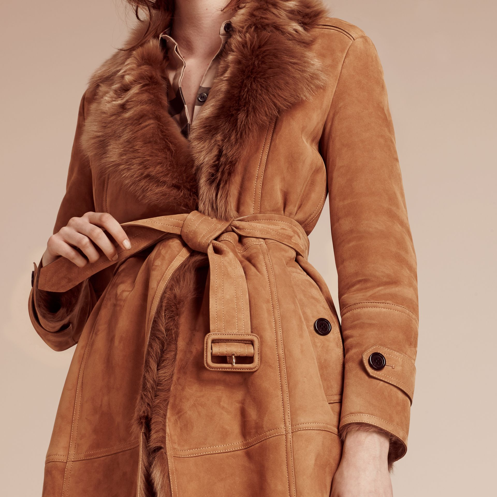 Shearling Wrap Coat - gallery image 5