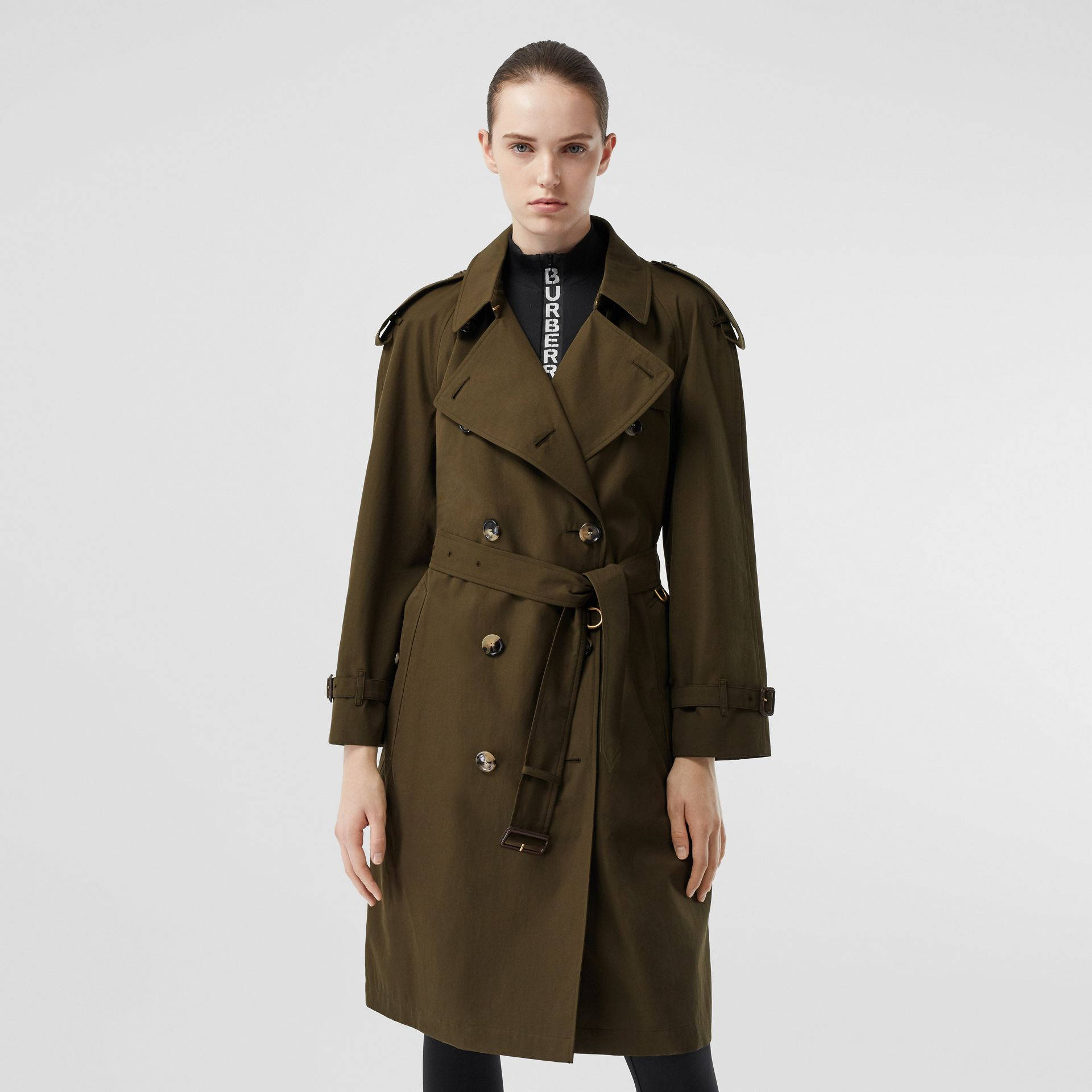 Tropical Gabardine Mid-length Trench Coat in Dark Military Khaki - Women | Burberry - gallery image 7