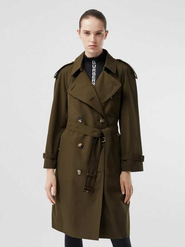 Tropical Gabardine Mid-length Trench Coat in Dark Military Khaki