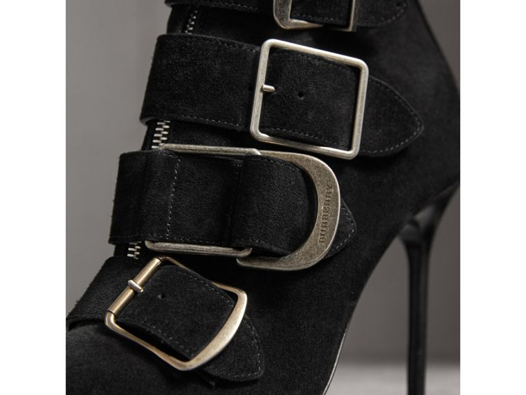 Buckle Detail Suede Ankle Boots in Black - Women | Burberry - cell image 1