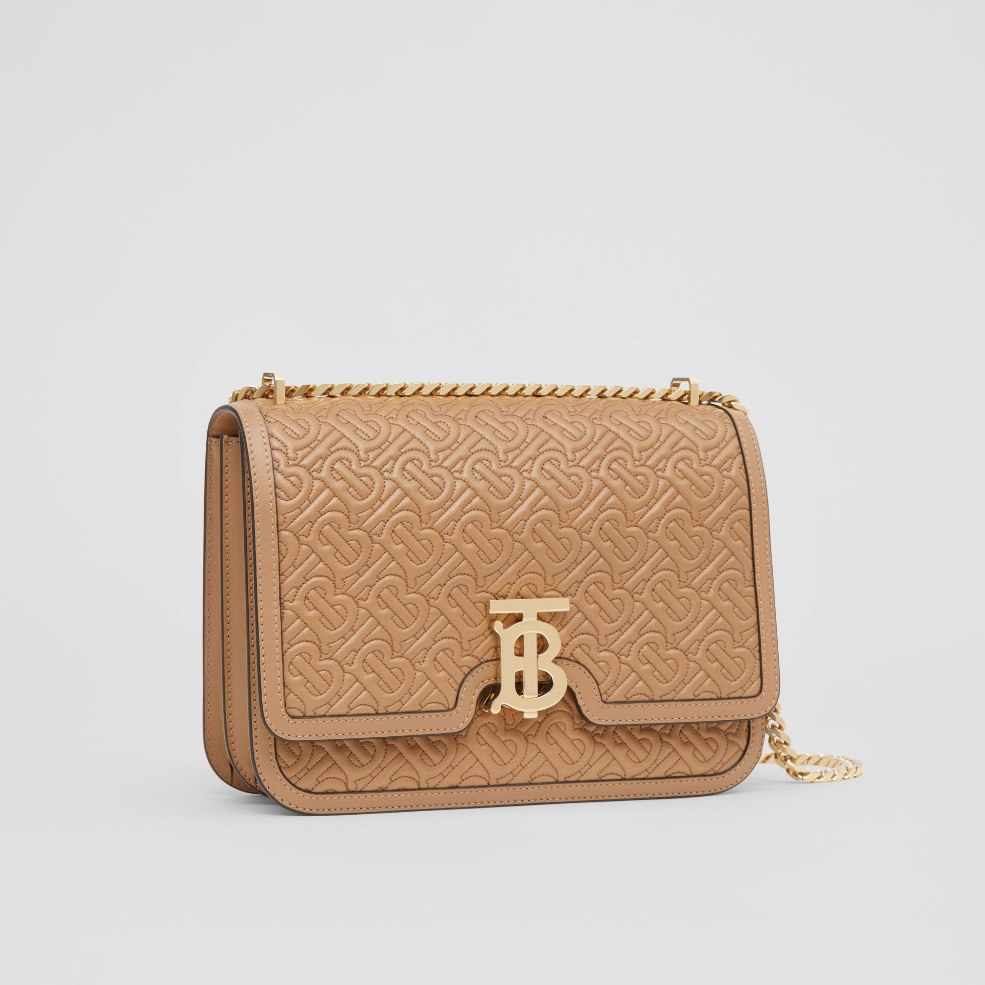 Medium Quilted Monogram Lambskin TB Bag in Honey - Women | Burberry Singapore - gallery image 6
