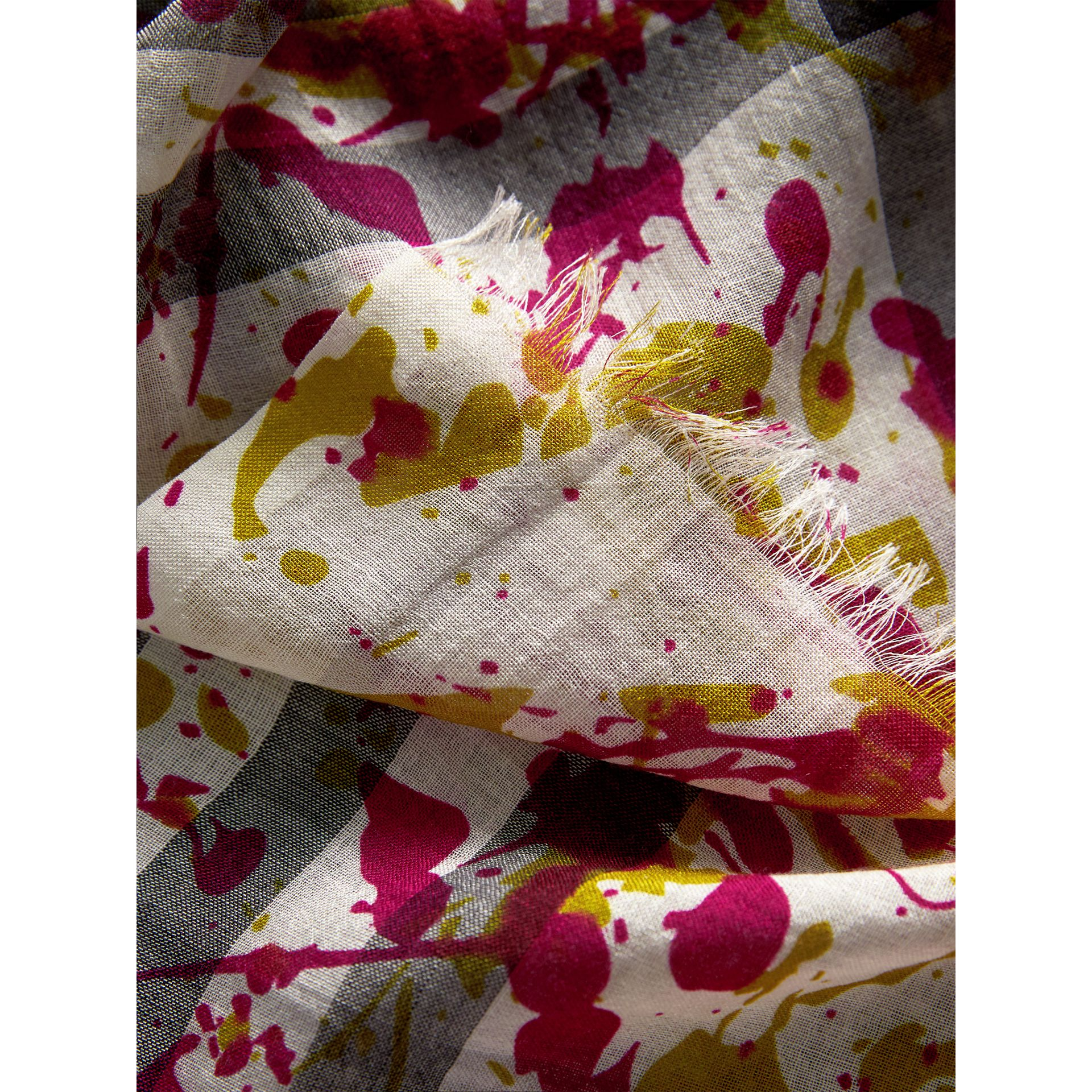 Splash Print and Check Lightweight Wool Silk Scarf in Stone/yellow | Burberry Australia - gallery image 2