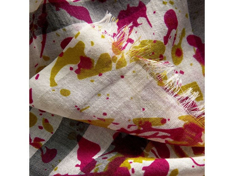 Splash Print and Check Lightweight Wool Silk Scarf in Stone/yellow | Burberry - cell image 1