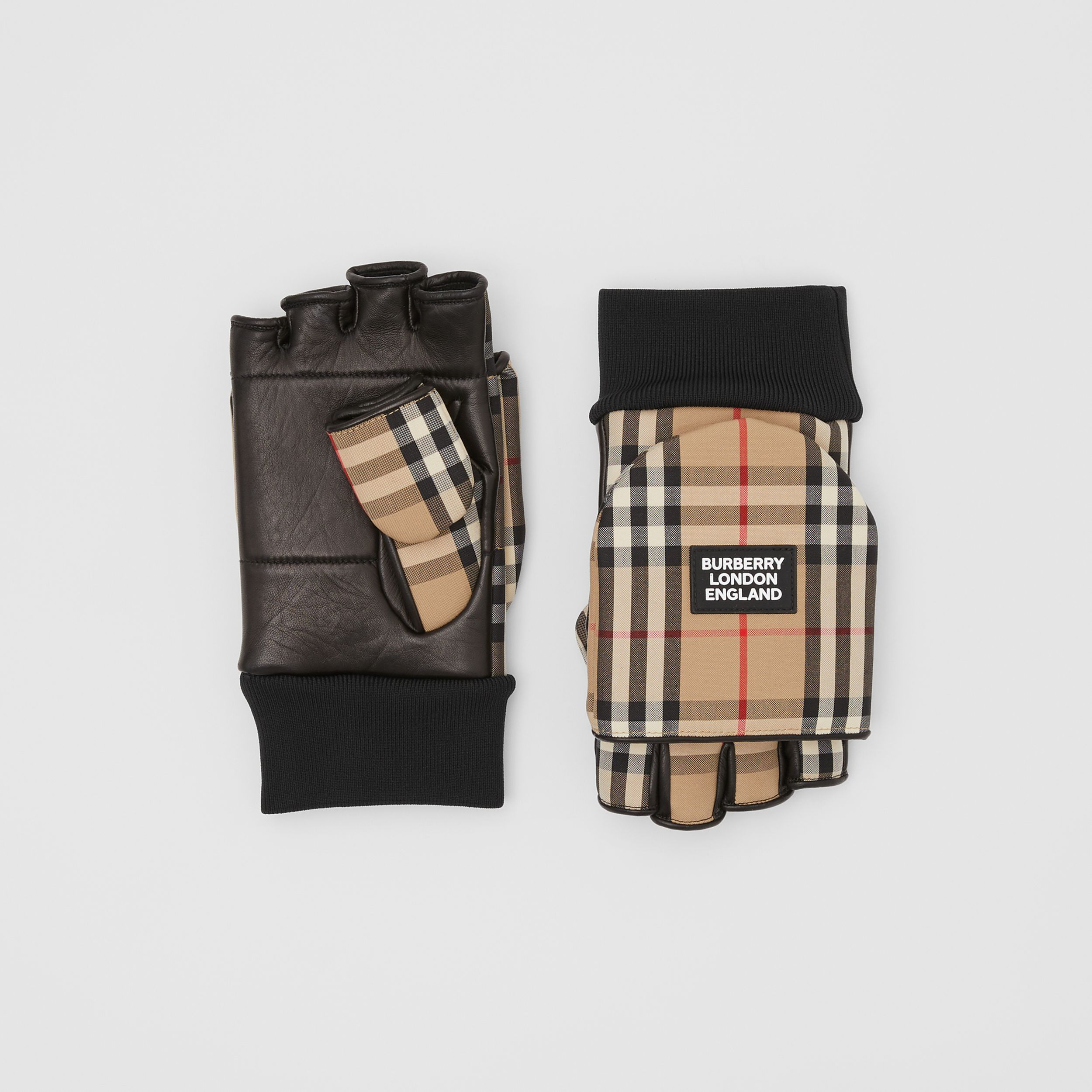 Logo Appliqué Lambskin and Vintage Check Mittens in Archive Beige | Burberry - 1