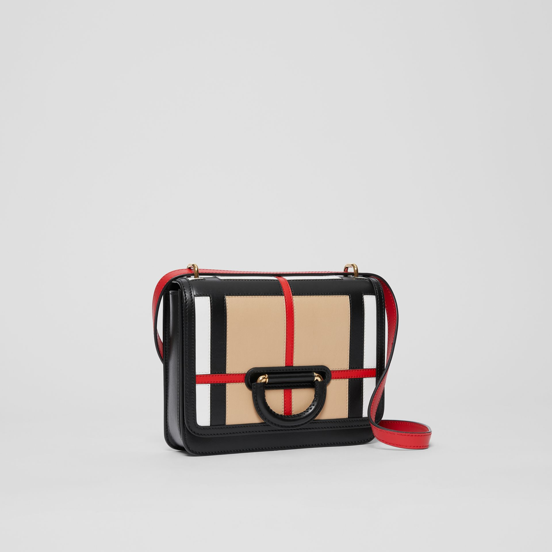 The Small Check Intarsia Leather D-ring Bag in Black - Women | Burberry United Kingdom - gallery image 5
