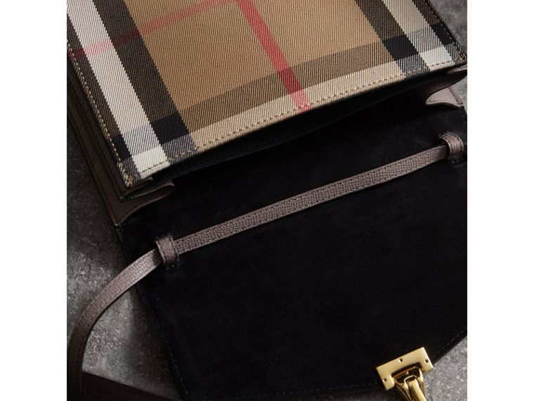 Small Leather and House Check Crossbody Bag in Thistle Grey - Women | Burberry Canada - cell image 4