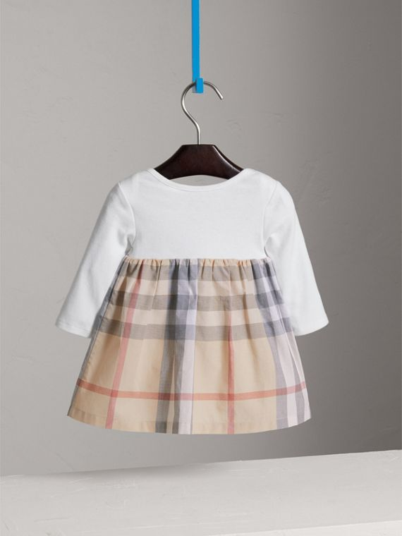 Cotton Check Dress in Pale Stone | Burberry Canada - cell image 3