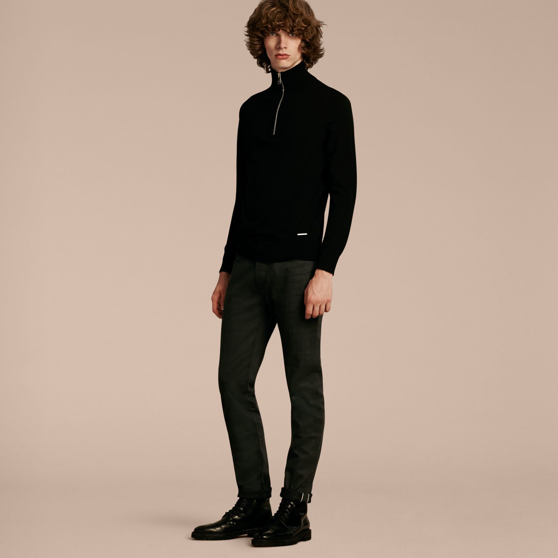 Zip-collar Cashmere Sweater Black - gallery image 6