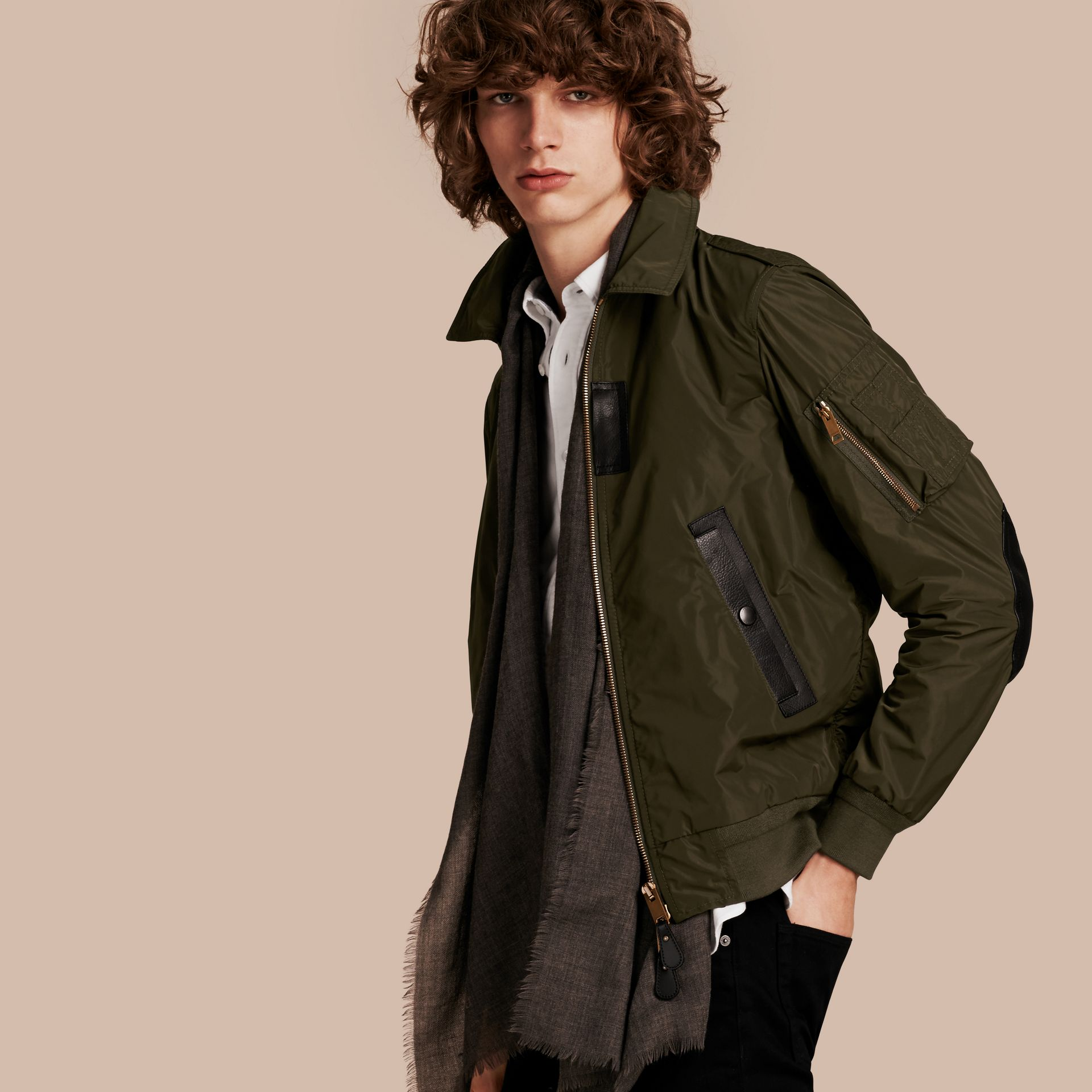 Khaki Lightweight Leather Trim Technical Jacket - gallery image 1