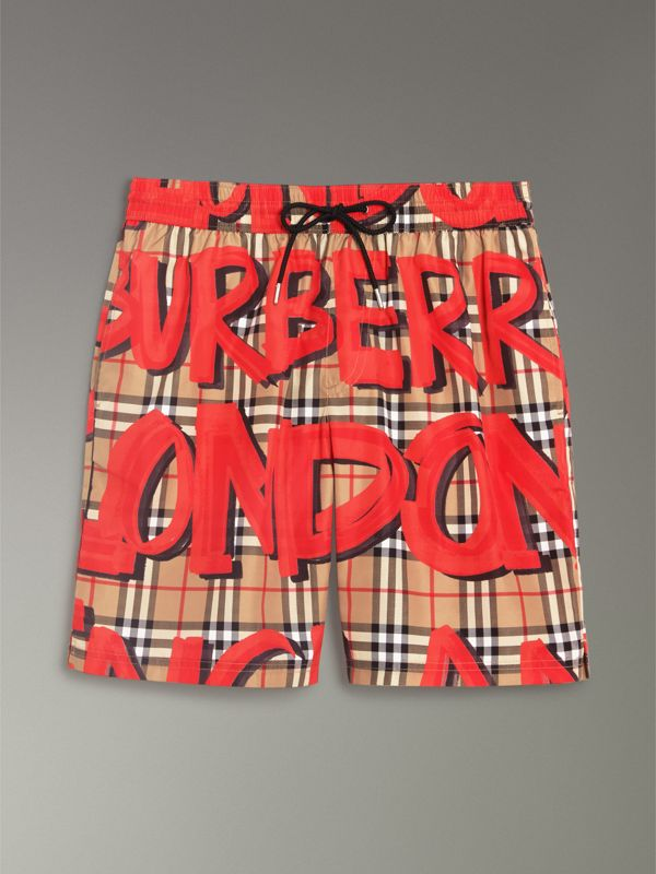 Graffiti Print Vintage Check Drawcord Swim Shorts in Bright Military Red - Men | Burberry - cell image 3