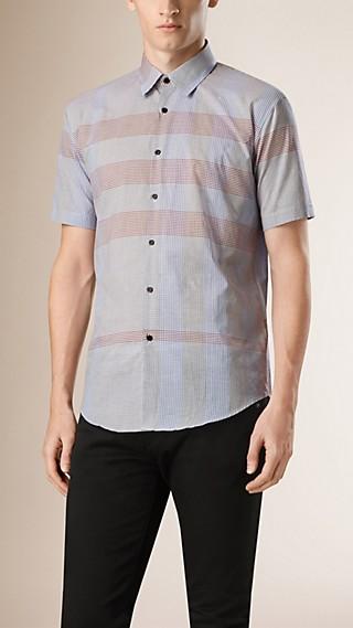Chemise en coton à manches courtes avec motif check