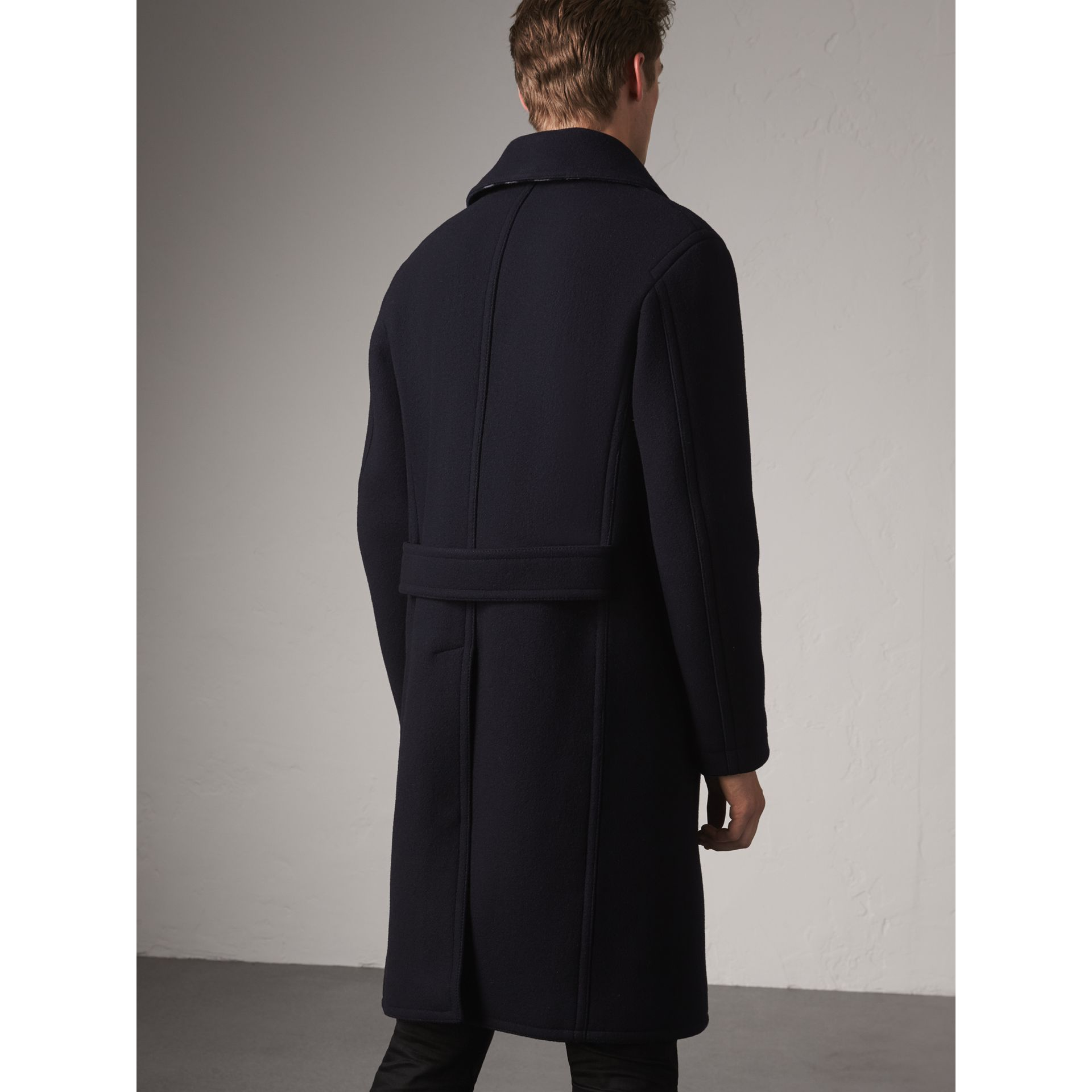 Wool Blend Double-breasted Coat in Navy - Men | Burberry Australia - gallery image 2