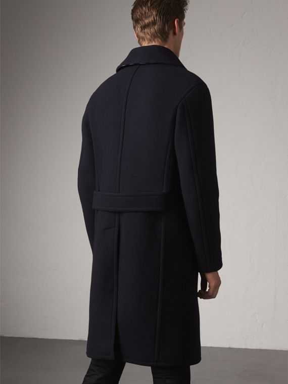 Wool Blend Double-breasted Coat in Navy - Men | Burberry Hong Kong - cell image 2