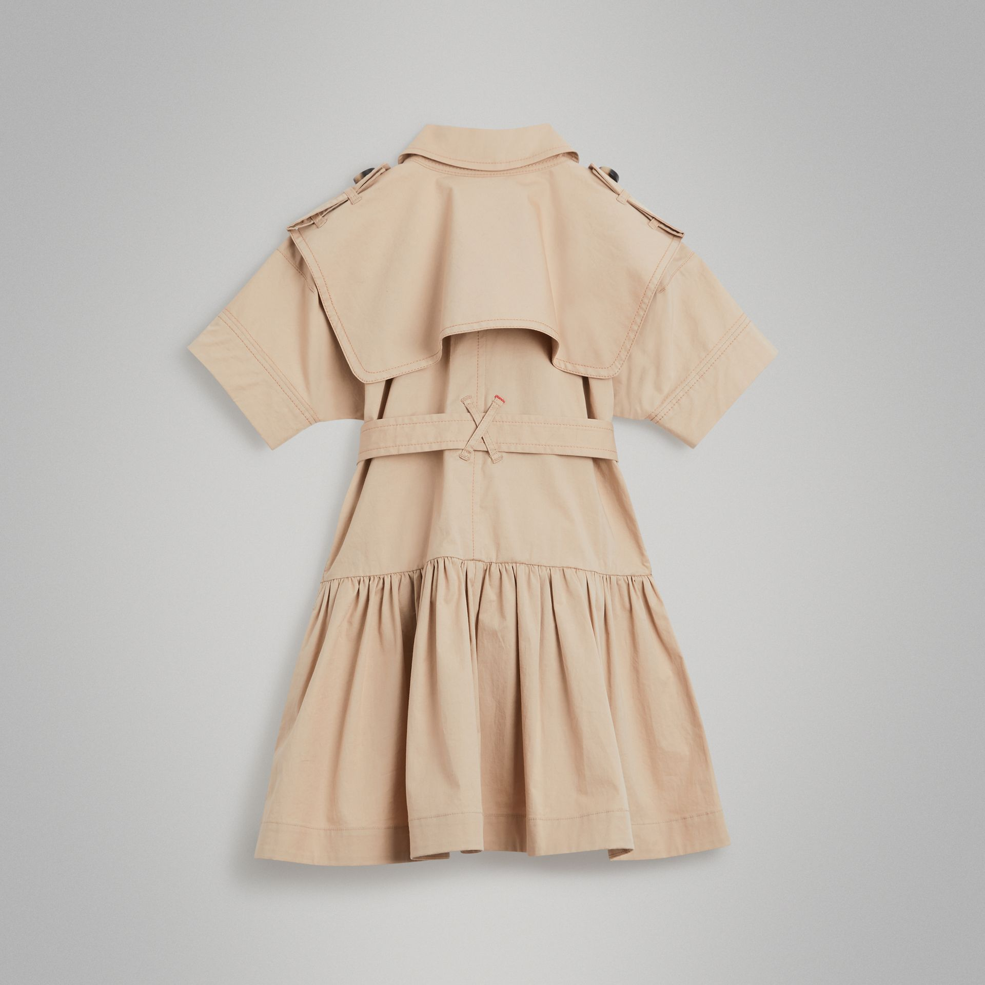 Stretch Cotton Trench Dress in Honey | Burberry - gallery image 3