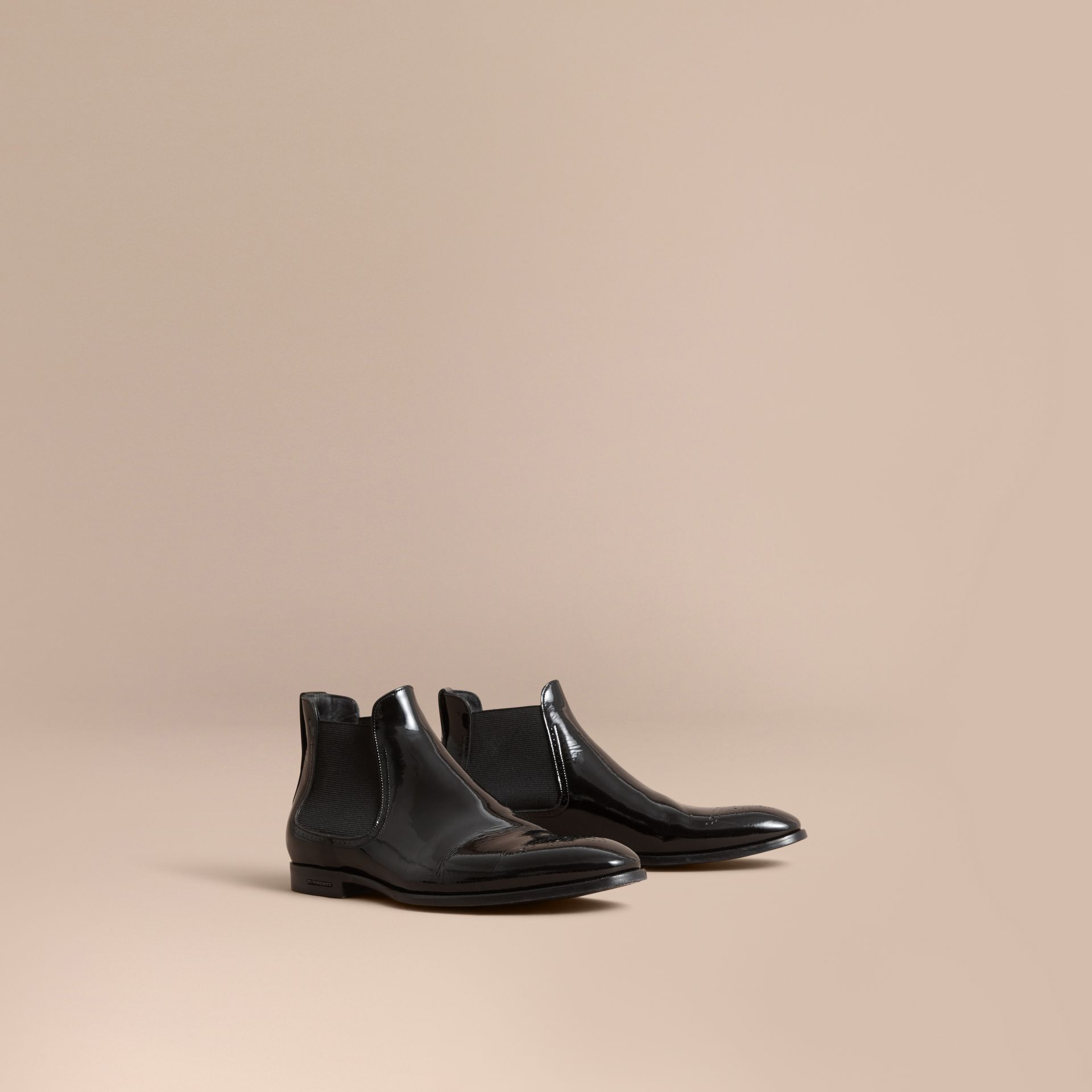 Polished Leather Chelsea Boots in Black - Men | Burberry - gallery image 1