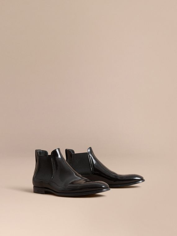Polished Leather Chelsea Boots - Men | Burberry Singapore