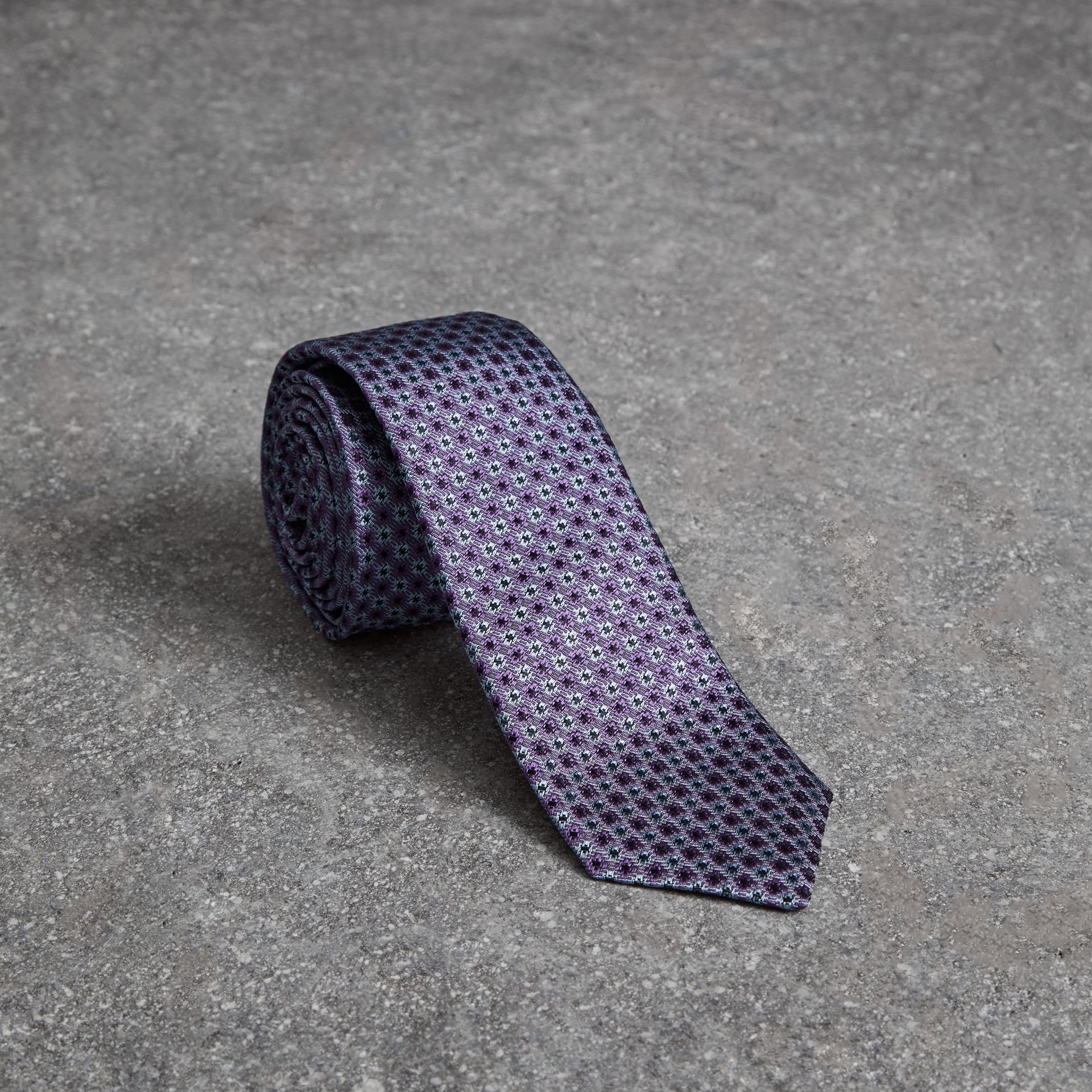 Slim Cut Daisy Silk Jacquard Tie in Lilac - Men | Burberry - gallery image 0