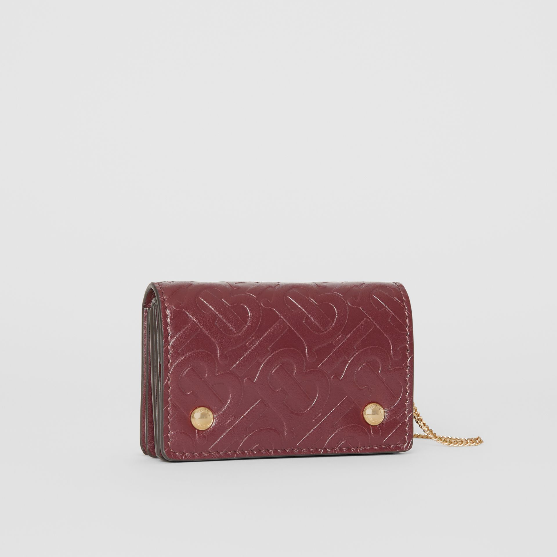 Monogram Leather Card Case with Detachable Strap in Oxblood - Women | Burberry - gallery image 4