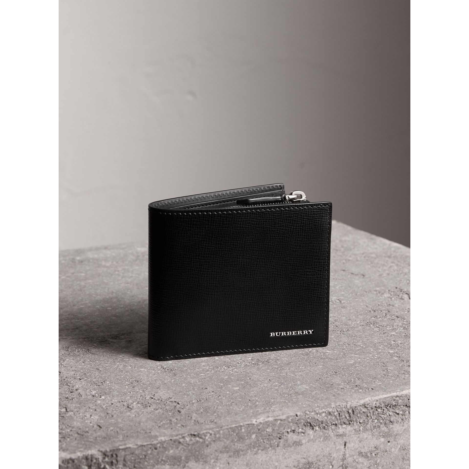 Leather International Bifold ID Coin Wallet in Black - Men | Burberry - gallery image 0