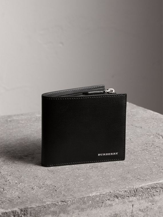 Leather International Bifold ID Coin Wallet in Black | Burberry