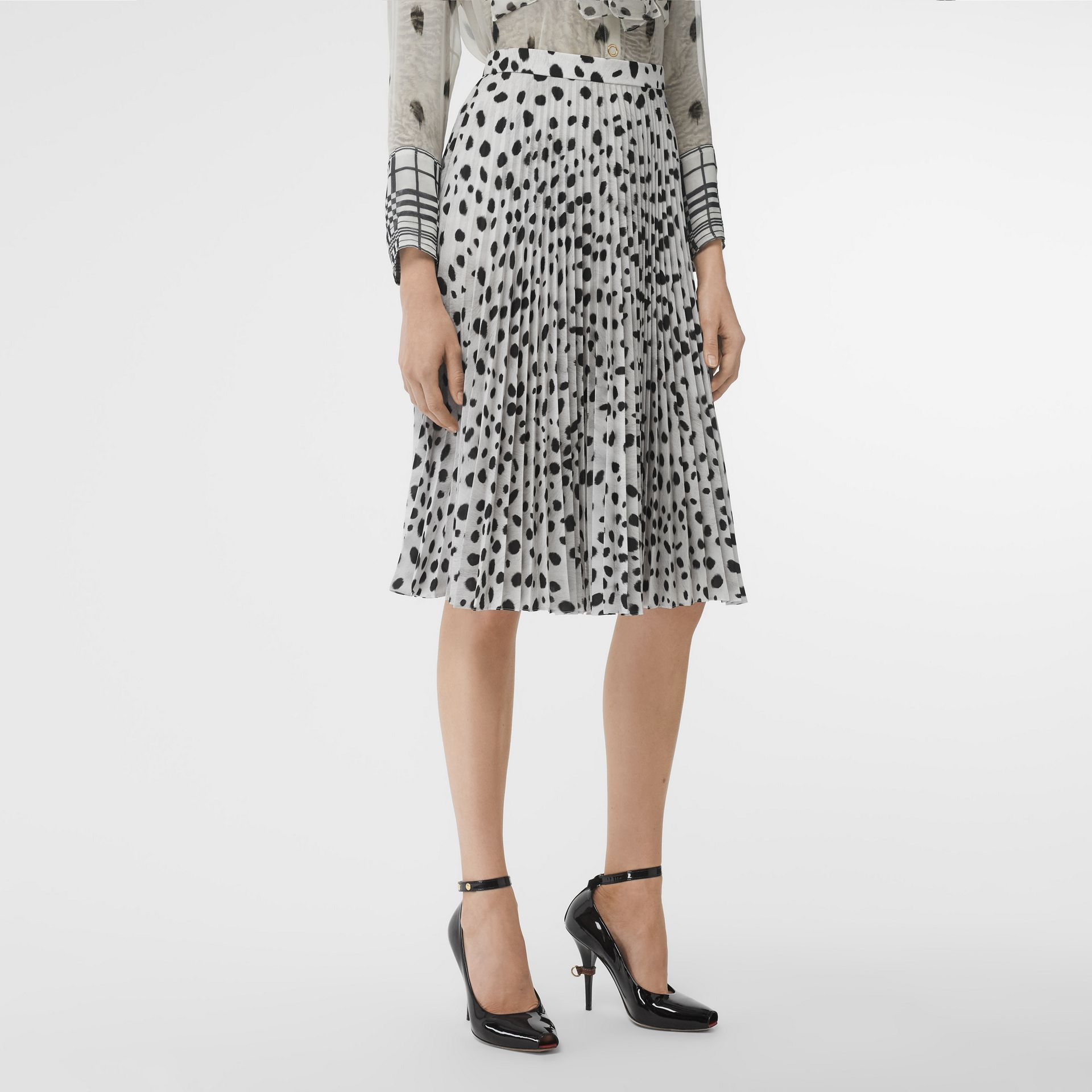 Dalmatian Print Crepe Pleated Skirt in Black/white - Women | Burberry Australia - gallery image 4