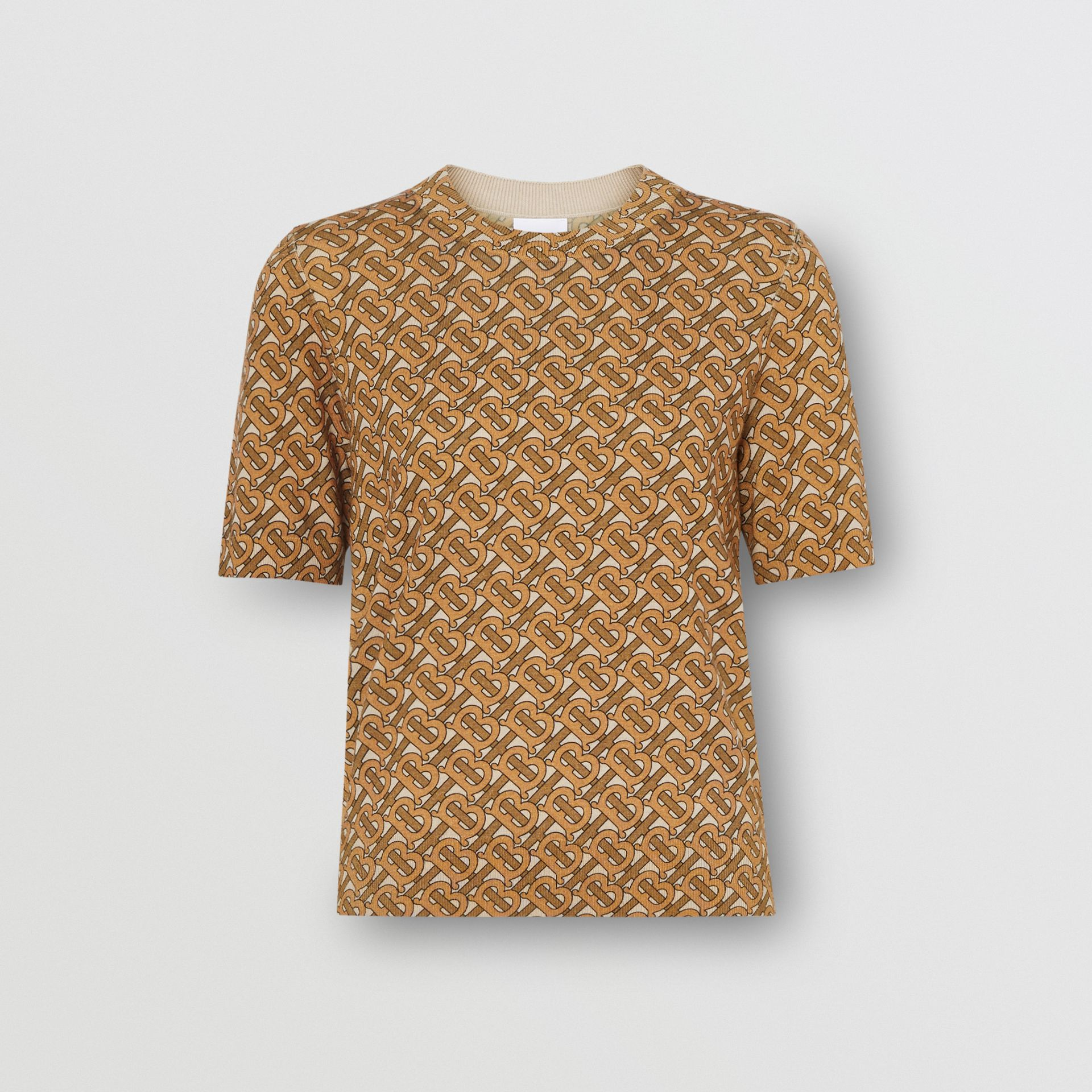 Monogram Print Merino Wool Top in Beige - Women | Burberry Singapore - gallery image 3