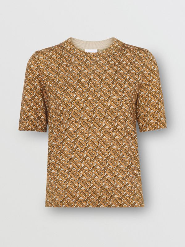 Monogram Print Merino Wool Top in Beige - Women | Burberry Australia - cell image 3