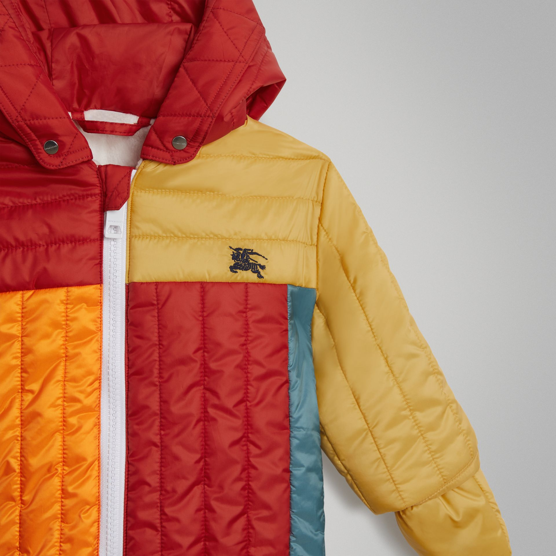 Colour Block Quilted Puffer Suit in Orange Red - Children | Burberry United Kingdom - gallery image 4