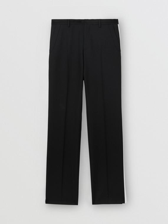 Elegante Hose aus Wolltwill mit Streifendetail (Schwarz)