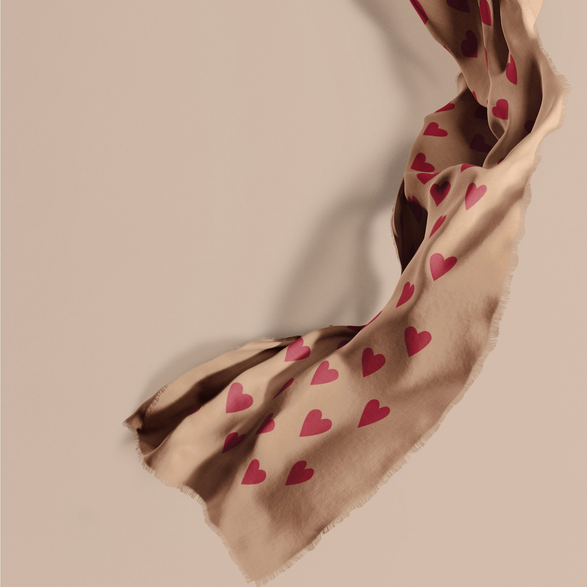 Camel/parade red The Lightweight Cashmere Scarf in Heart Print Camel/parade Red - gallery image 1
