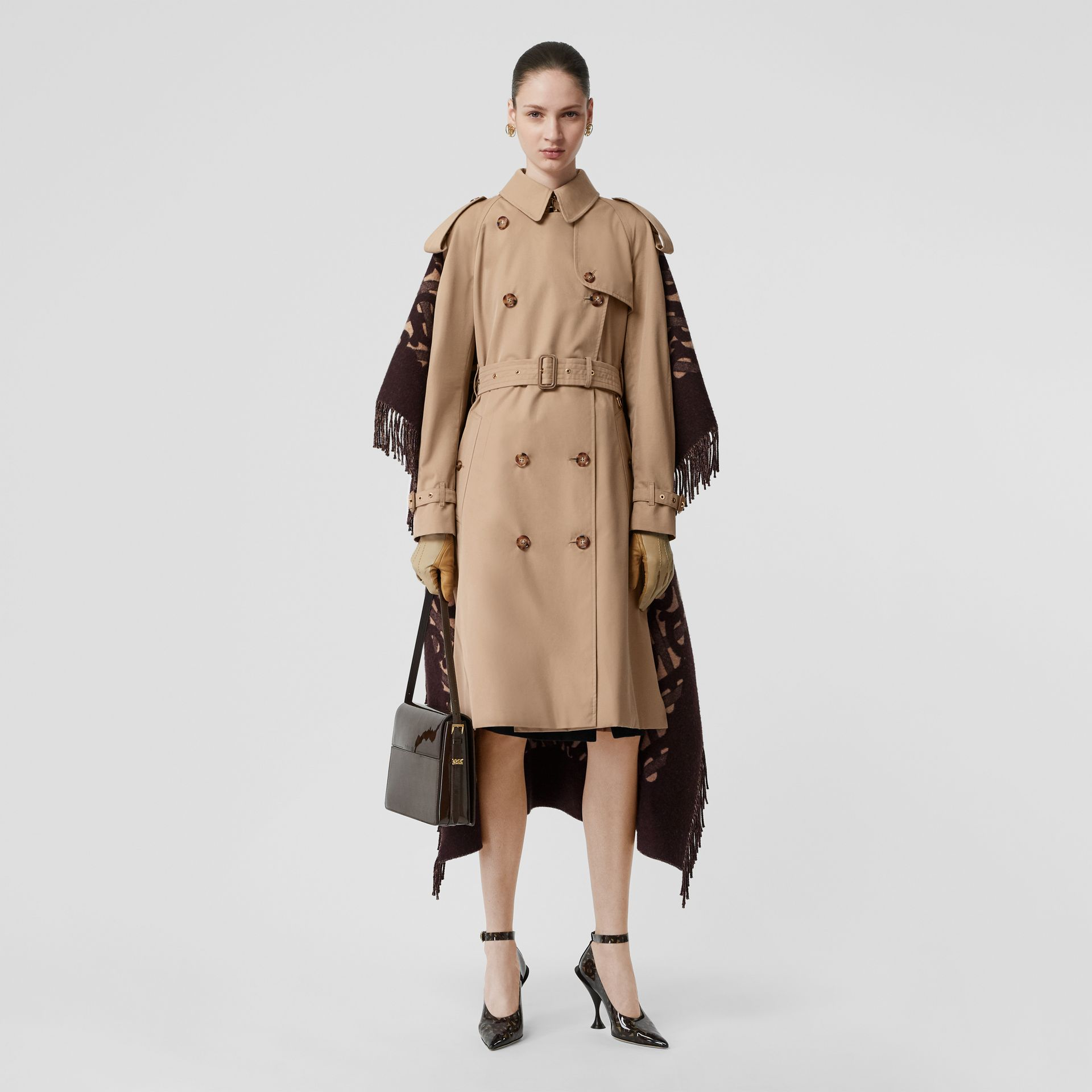 Blanket Detail Cotton Gabardine Trench Coat in Honey - Women | Burberry - gallery image 0