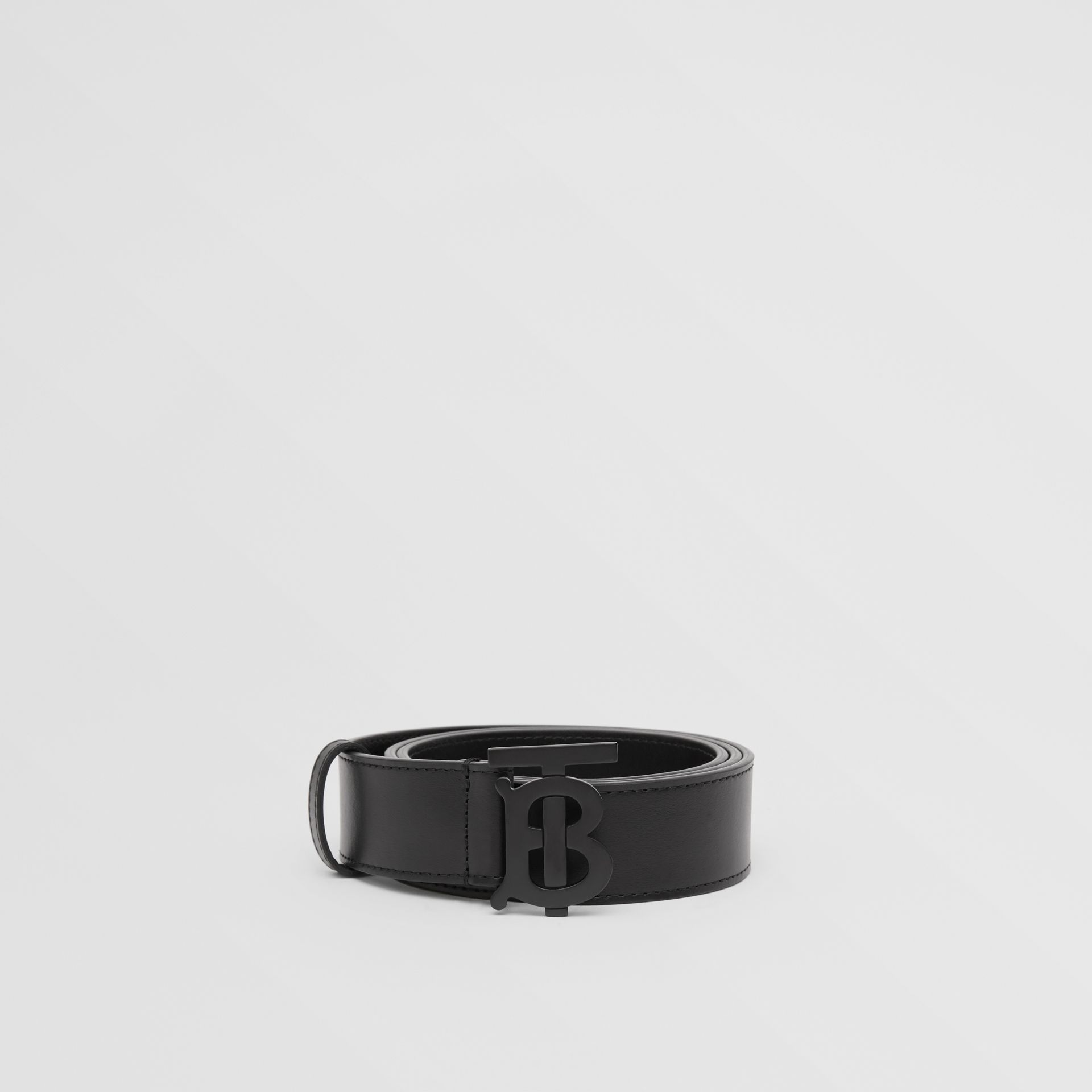 Matte Monogram Motif Leather Belt in Black - Men | Burberry - gallery image 3