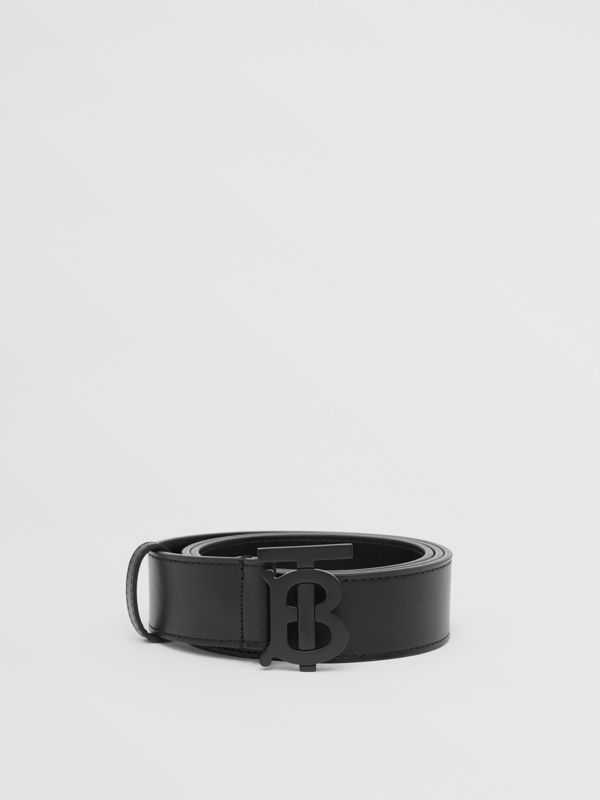 Matte Monogram Motif Leather Belt in Black - Men | Burberry - cell image 3