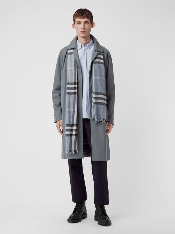 Lightweight Check Wool and Silk Scarf in Dusty Blue | Burberry Singapore - cell image 3