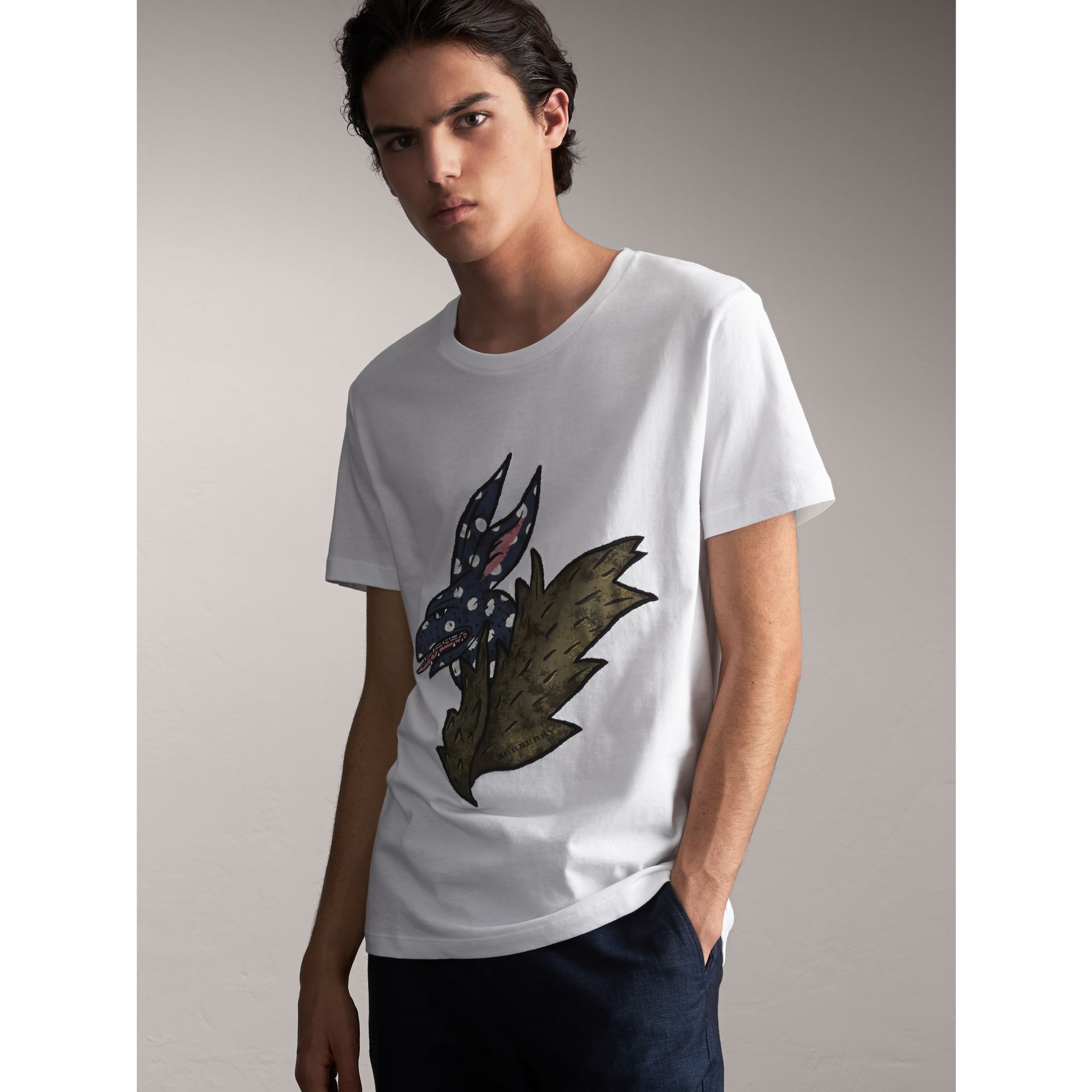 Flocked and Embroidered Beasts Print Cotton T-shirt in White - Men | Burberry - gallery image 1