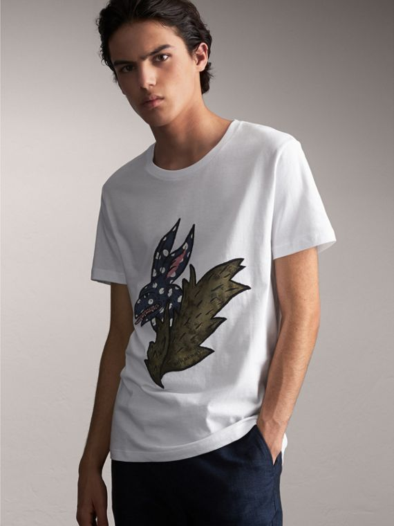 Flocked and Embroidered Beasts Print Cotton T-shirt in White